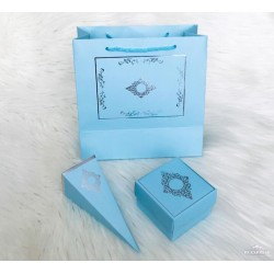 3'lü Set Mavi Gümüş (çanta-kutu-külah)