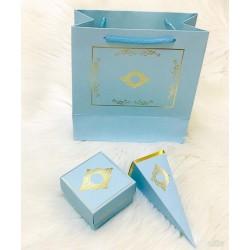 3'lü Set Mavi Gold (çanta-kutu-külah)