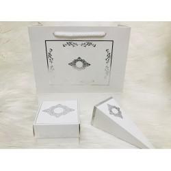 Karton Çanta Beyaz (Desen 1)