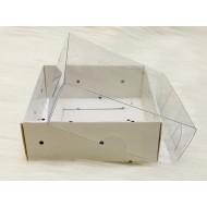 8x8x3 Asetat Kapaklı Kutu Beyaz Puantiyeli