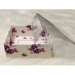 8x8x3 Asetat Kapaklı Kutu Mor Çiçek