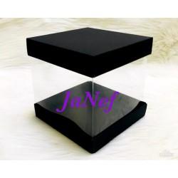15x15x15 Alt-Üst Karton Siyah Asetat Kutu