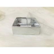 9x9x3 Asetat Kapaklı Kutu Gümüş