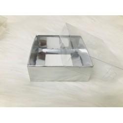 8x8x3 Asetat Kapaklı Kutu Gümüş