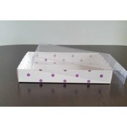 15x20x3 Asetat Kapaklı Kutu Mor Puantiyeli