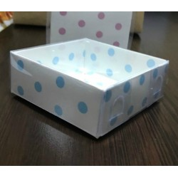 8x8x3 Asetat Kapaklı Kutu  Puantiyeli (Beyaz Zemin)