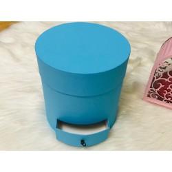 Silindir Hediye Kutusu Çekmeceli Mavi