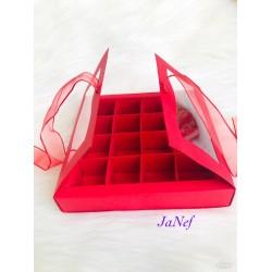 16 Bölmeli Pencereli Karton Kutu Kırmızı