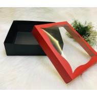 Pencereli Karton Kutu Kırmızı 25x30x9