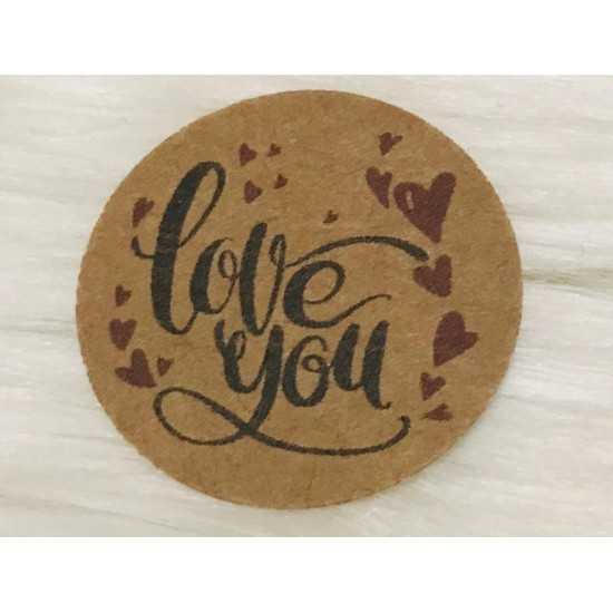 Kraft Sticker (love you)