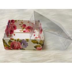 8x8x3 Asetat Kapaklı Kutu Çiçek Desen