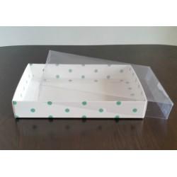 15x20x3 Asetat Kapaklı Kutu Yeşil Puantiyeli