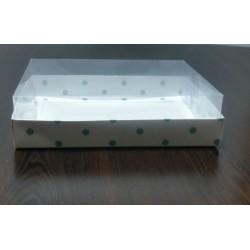15x20x5 Asetat Kapaklı Kutu Yeşil Puantiyeli